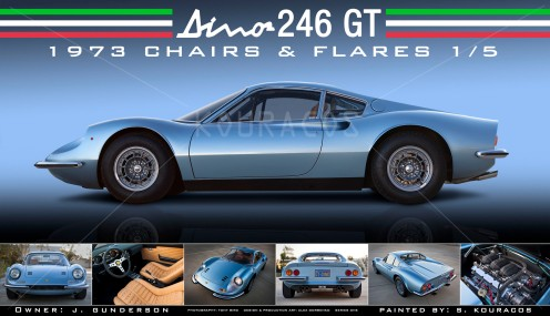 Blue Dino 246 GT Poster